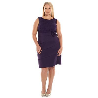 connected apparel lace tiered sheath dress - women's plus size
