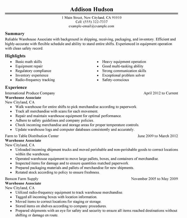 Warehouse Resume Objective Examples Elegant Grounds Maintenance Worker Resume Sample Resume Objective Examples Resume Objective Warehouse Resume