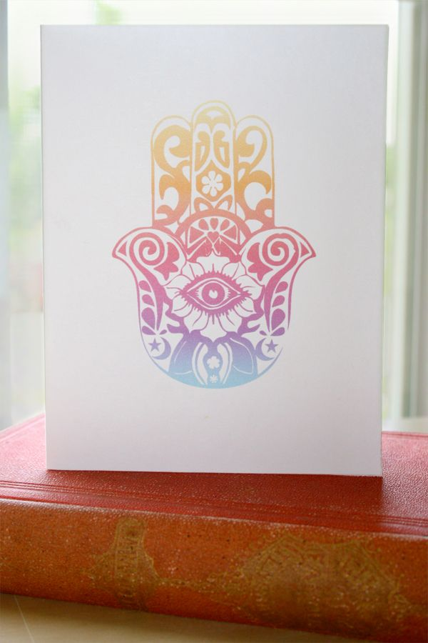 Free Printable Card with download for envelope template. The Hamsa symbol offers protection from the evil eye.