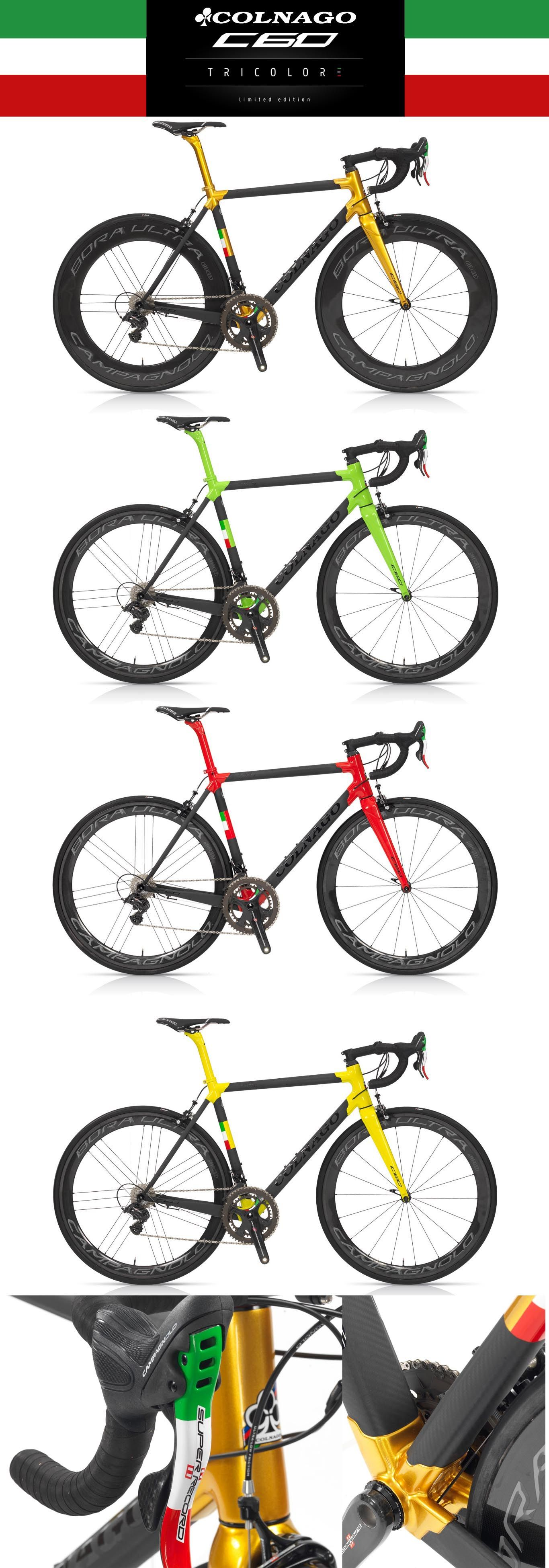 2016 Colnago C60 Tricolore, limited edition of only 100. Special Italian flag details like the Campagnolo Super Record right shifter and crank, and the seattube.