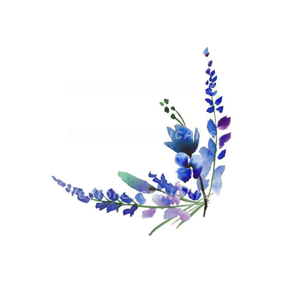Corner Of Lavender Blue Flowers Watercolor Floral Clipart 1