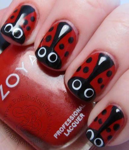 Ladybug Nail Design I Wouldnt Put The White Eyes On It Though