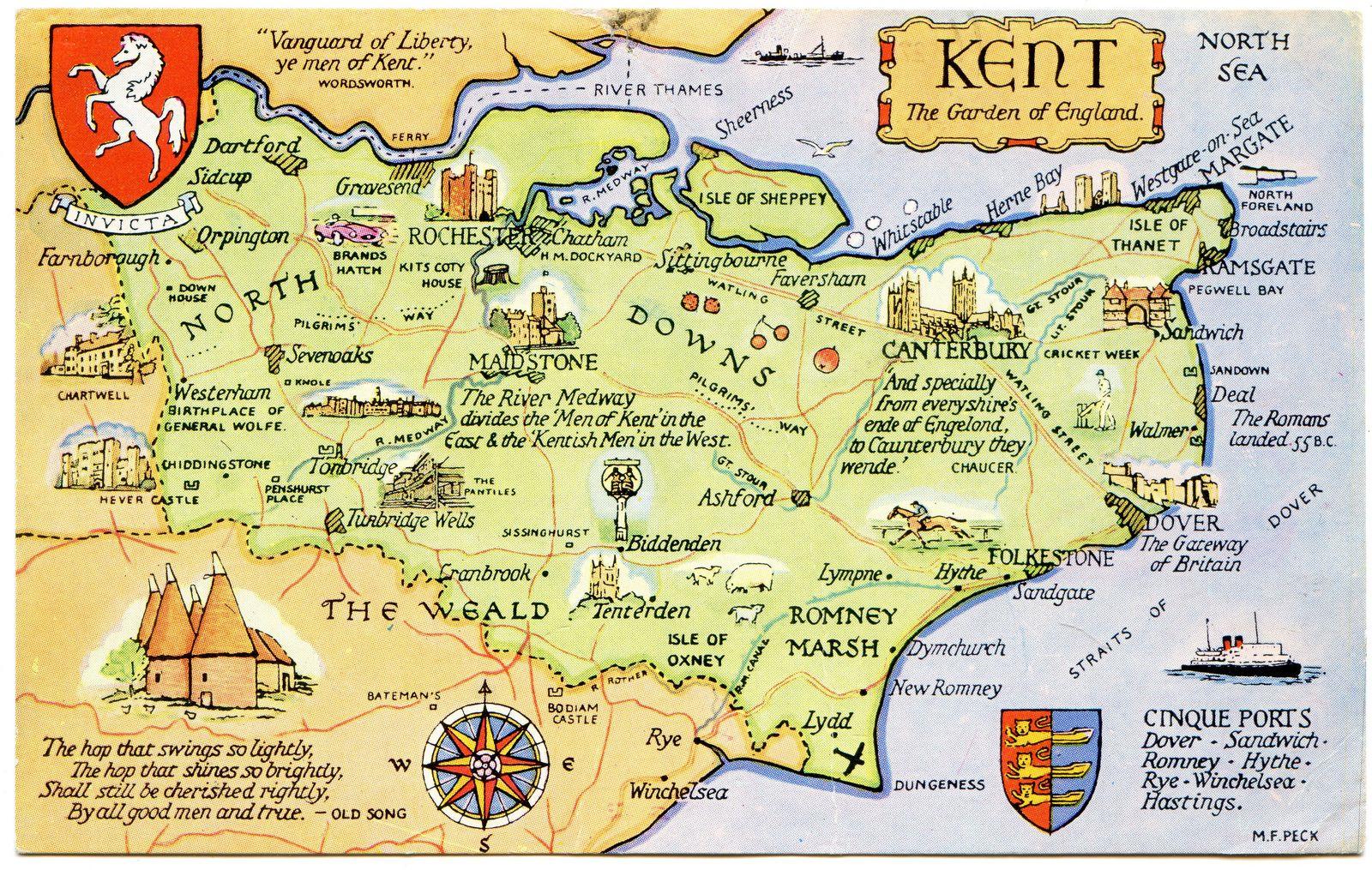 Postcard Map Of Kent The Garden Of England In 2020 Kent England