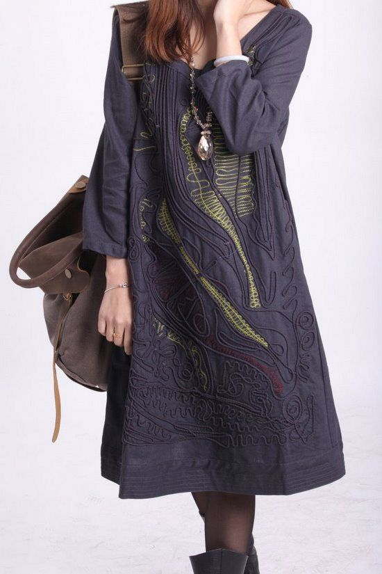 linen Line applique dress by MaLieb on Etsy, $69.00