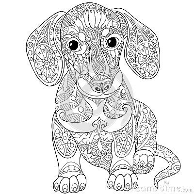 Zentangle Dachshund Dog Sausage DogsAdult Coloring Book