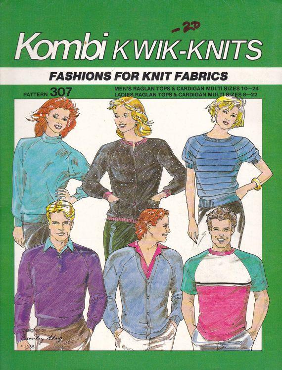 1980s Sewing Pattern Kombi Kwik Knits 307 Ladies Mens Raglan