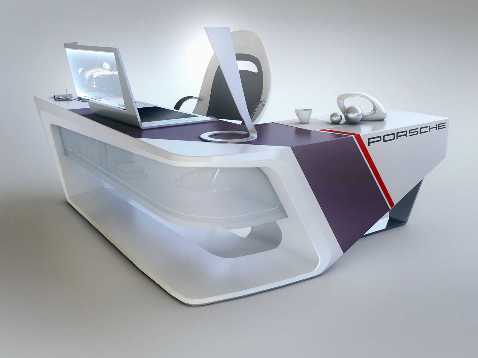 Modern desk design furniture design pinterest for Meuble futuriste montreal