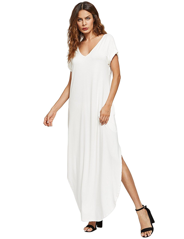 937e9f6bfaf Verdusa Women's Casual V Neck Side Split Beach Long Maxi Dress at Amazon  Women's Clothing store: