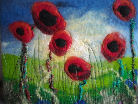felted poppy picture wet felted fiber art by SueForeyfibreart, $48.00