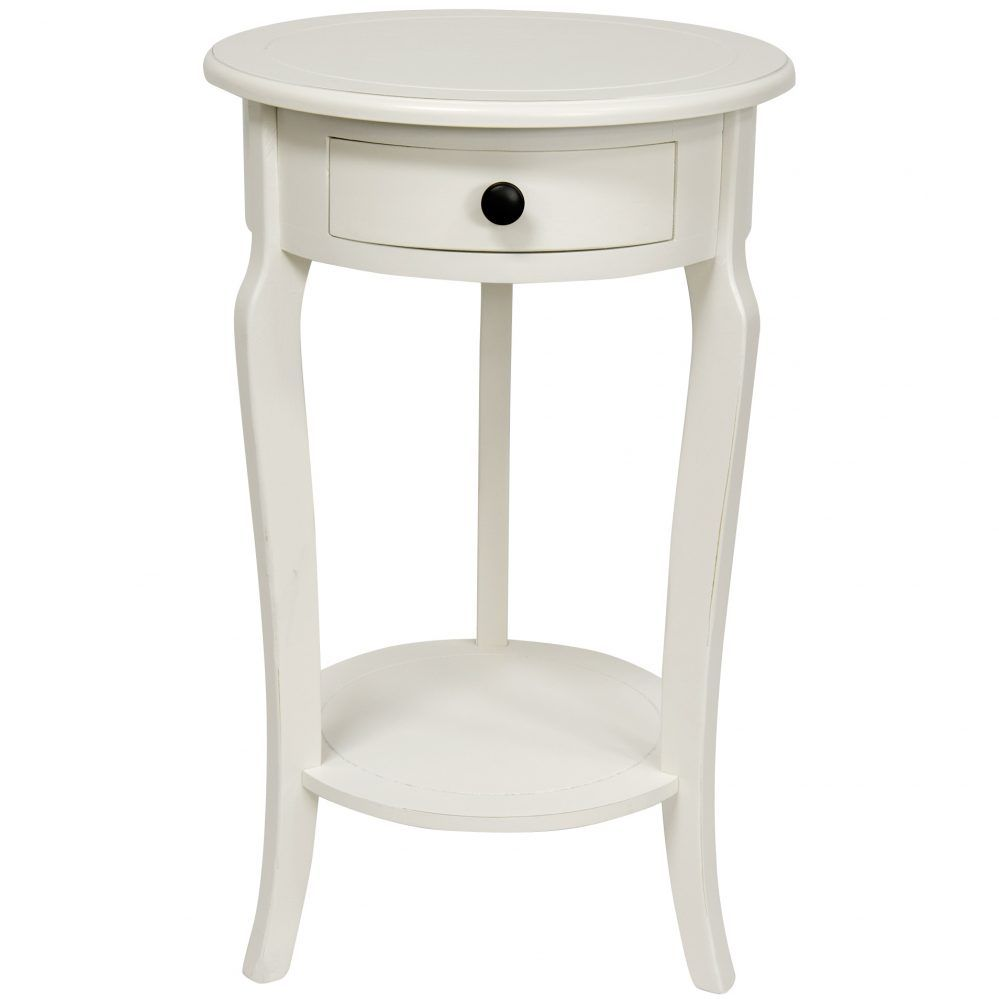 Small White Round Accent Table With Drawers