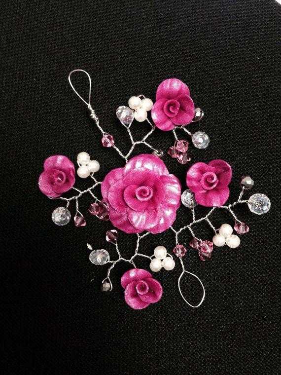 Wedding Prom Pink Fuschia Polymer Clay Crystals Pearls Hair Vine on Etsy, $52.00