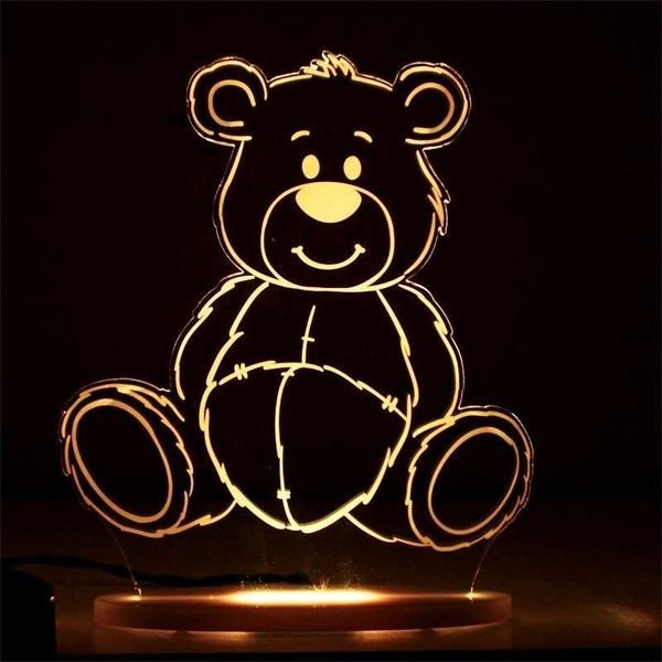 My Dream Light Teddy Bear Kids Lamps Night Light Risunki Illyuzii Svetilniki