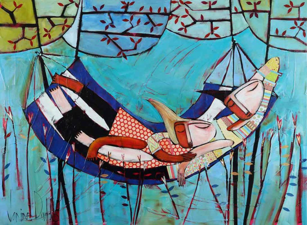 Janine Daddo Artist - Lazy Sunday Painting - painter - australian artist - fun - playful - colour - love - relationship - cuddling - chill -relax - blue - reeds