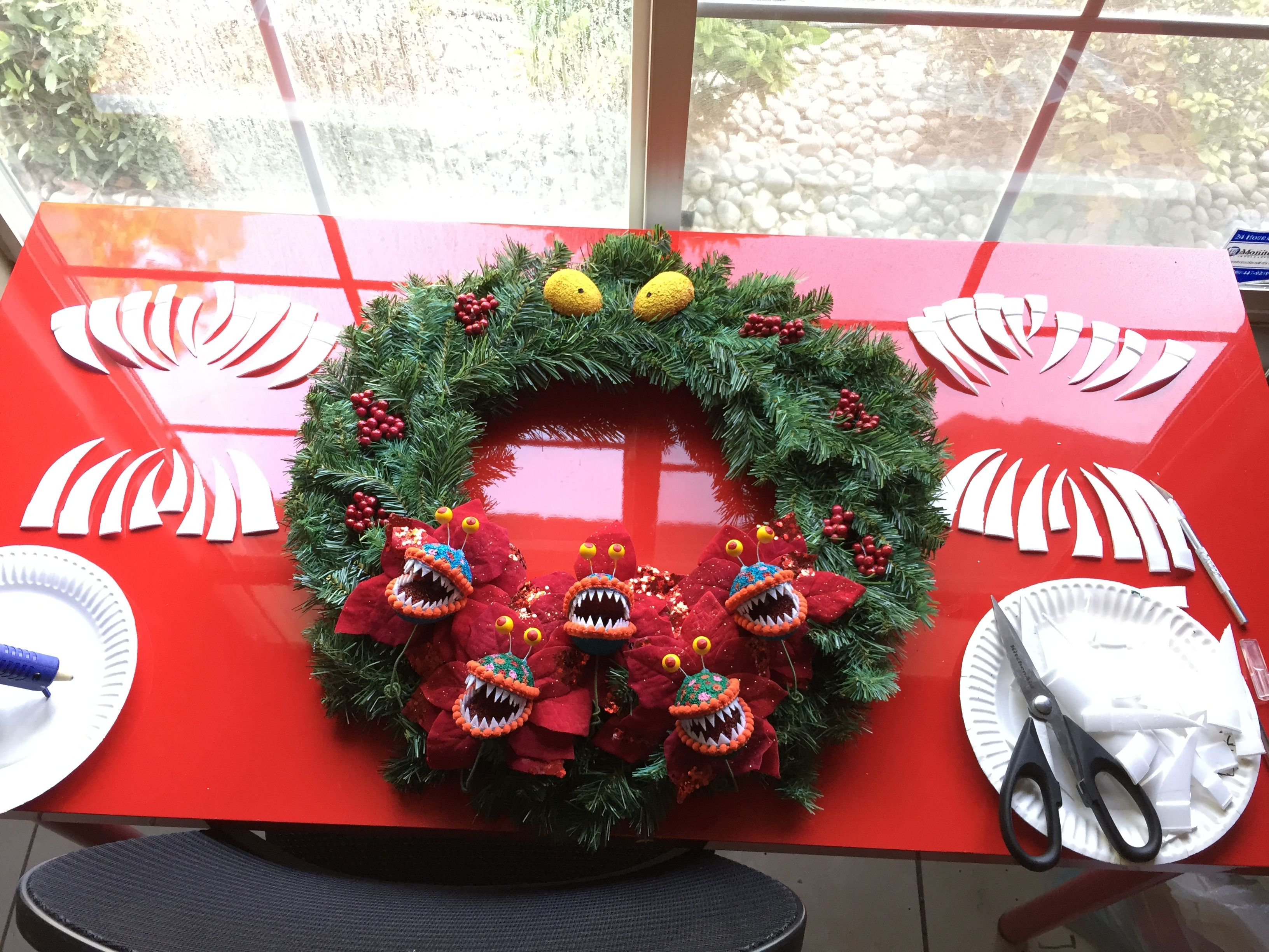 Man Eating Wreath inspired by the Nightmare before Christmas and the  Holiday Haunted Mansion at Disneyland