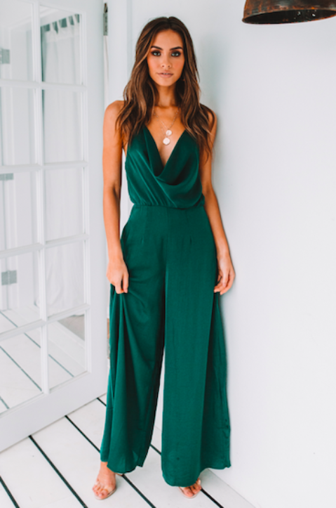 7e84a74978010 Kalani Jumpsuit - Emerald | In love with this ultra feminine jumpsuit  perfect for semi formal occasion!