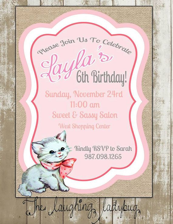 Kitty invitation Cat invite Cat party Kitten party invitation – Cat Party Invitations