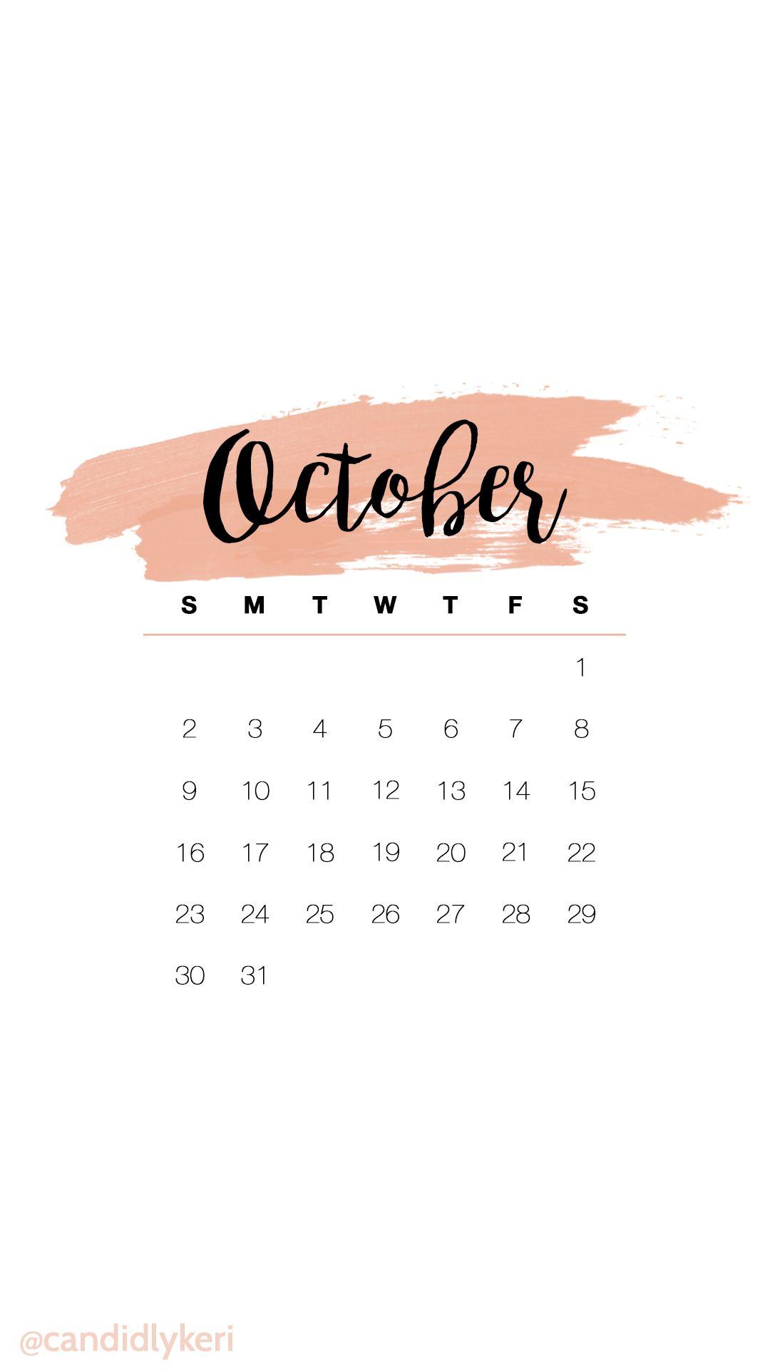 October Calendar Wallpaper Iphone : Cute pink watercolor october calendar wallpaper you