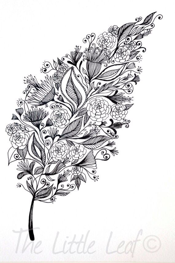 Flower Leaf Line Drawing : Leaf drawing filled with flowers black and white