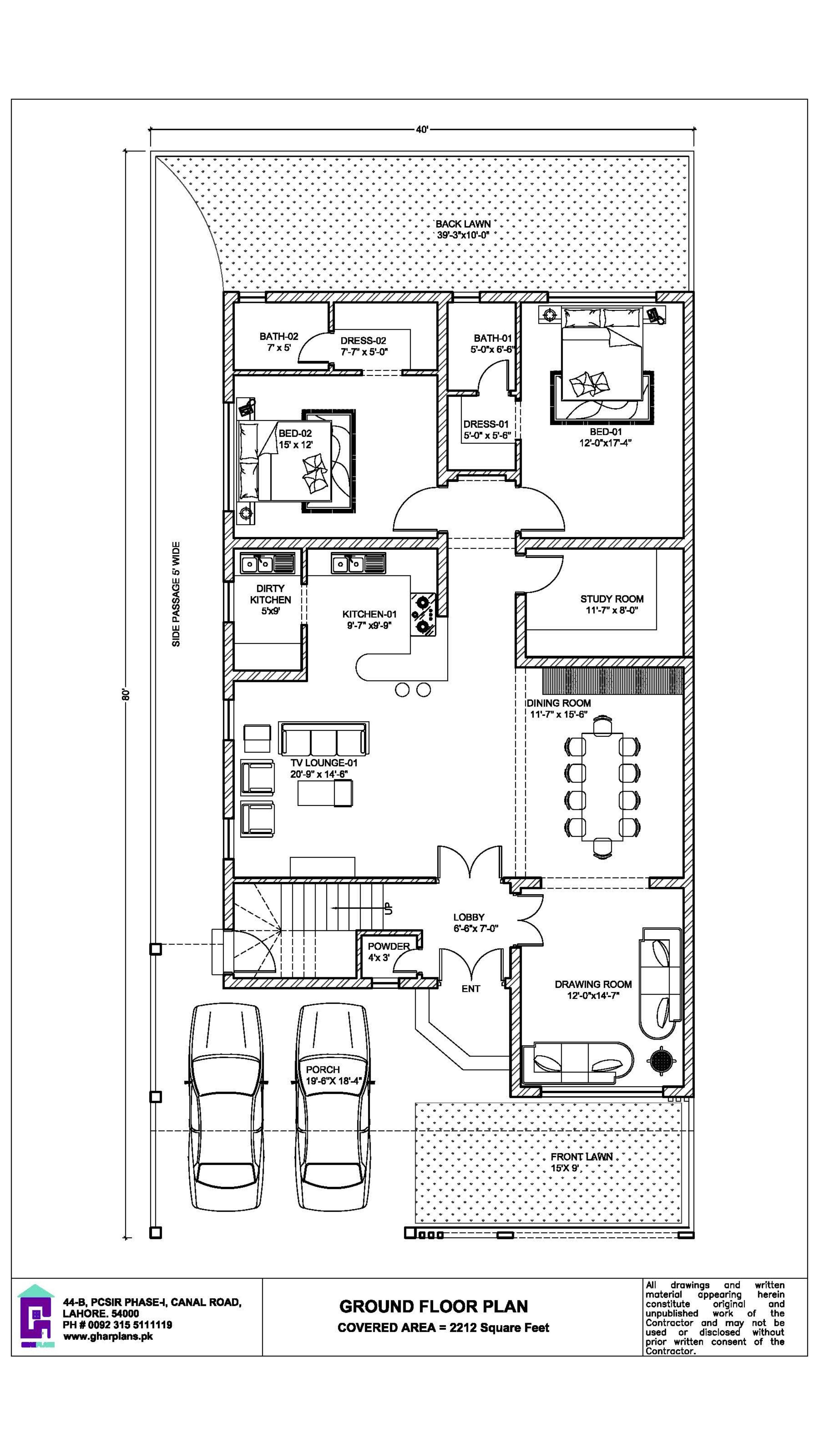 350 Square Yard House Design 40 Ft X 80 Ft Ground Floor Plan Square House Plans House Floor Design Home Design Floor Plans