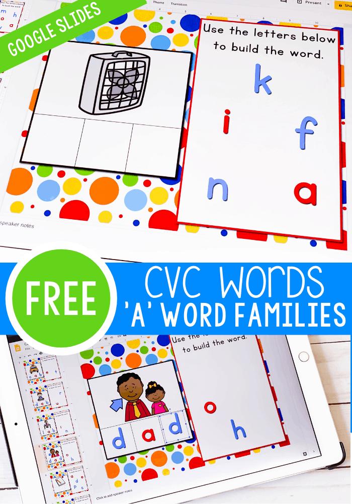 Cvc Words Short Vowel A Google Slides Life Over Cs In 2020 Cvc Word Activities Cvc Word Families Cvc Words