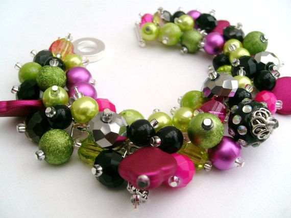 Chunky Beaded Bracelet Hot Pink and Lime Cluster by KIMMSMITH