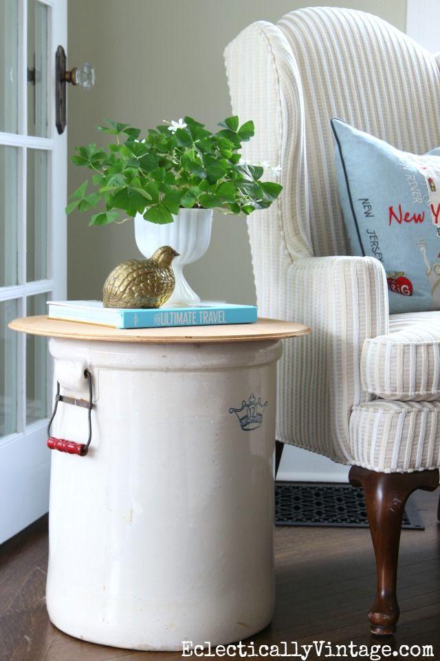 What a crock side table antique crocks farmhouse decor - Home decor ideas images ...