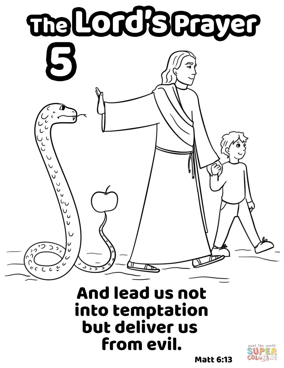 And Lead Us Not Into Temptation But Deliver Us From Evil Super Coloring Jesus Coloring Pages Coloring Pages Evil
