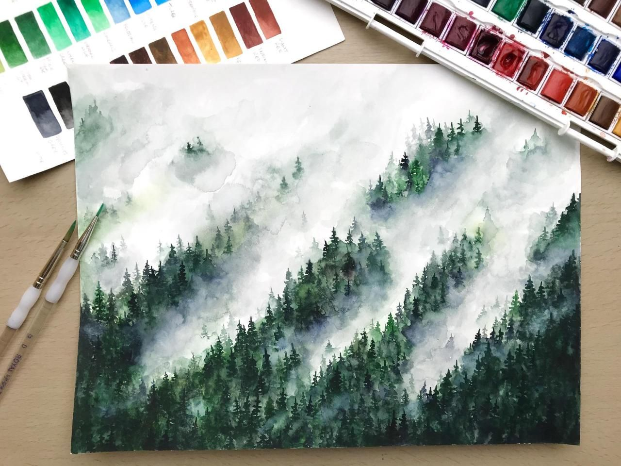 Watercolour Misty Forest Painting Missing Nature During This Lockdown Time Forest Painting Misty Forest Watercolor
