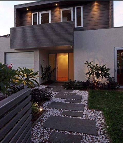 Modern Front Yard: Exterior Easy Low Maintenance Landscaping