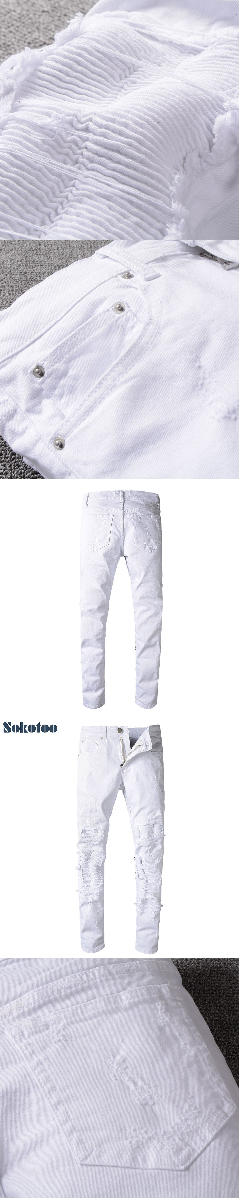 83eac7ba616 Sokotoo Men s white pleated ripped skinny biker jeans for moto Casual  patchwork stretch denim pants Long