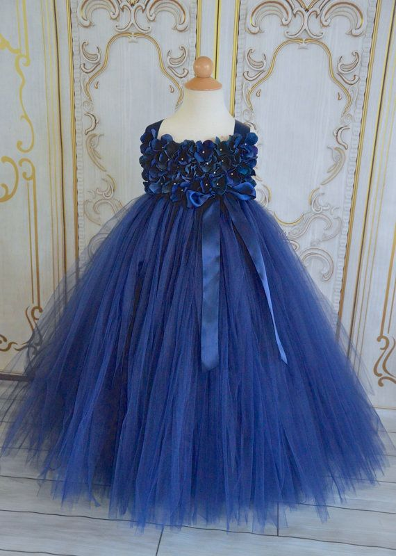 2f859914e Navy Hydrangea Flower girl tutu dress por TutuSweetBoutiqueINC