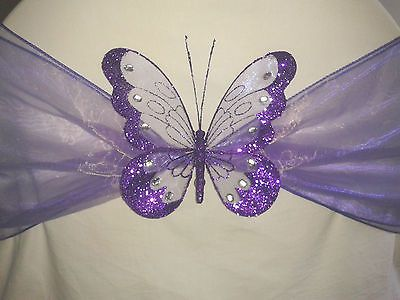 Beautiful 8cm Glitter Clip On Butterfly Home Decorative