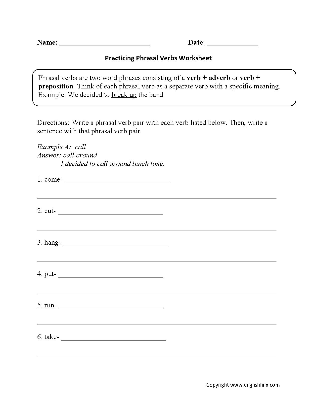 Worksheets Phrasal Verbs Worksheet practicing phrasal verbs worksheet dxvxcv pinterest worksheets list and sentences