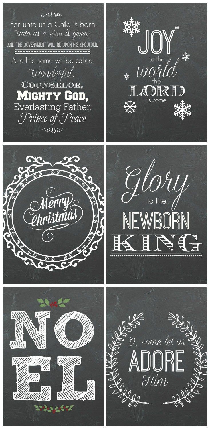 6 Free Christmas Chalkboard Printables | Printing services, Online ...