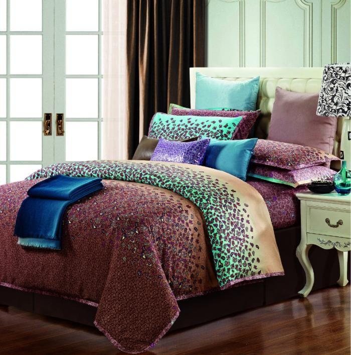 Egyptian Cotton Purple Brown Green Blue Comforter Bedding Set King Size Queen Silk Satin Leopard Duvet Comforter Bedding Sets King Bedding Sets Blue Comforter