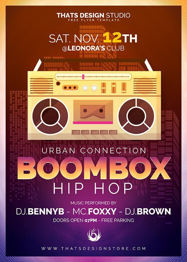 Boombox Hip Hop Free Flyer  Psd Templates Free Flyer Templates And