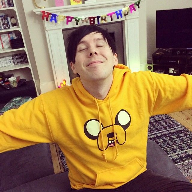 Phil wearing the sweat shirt that Dan got him for his birthday :D