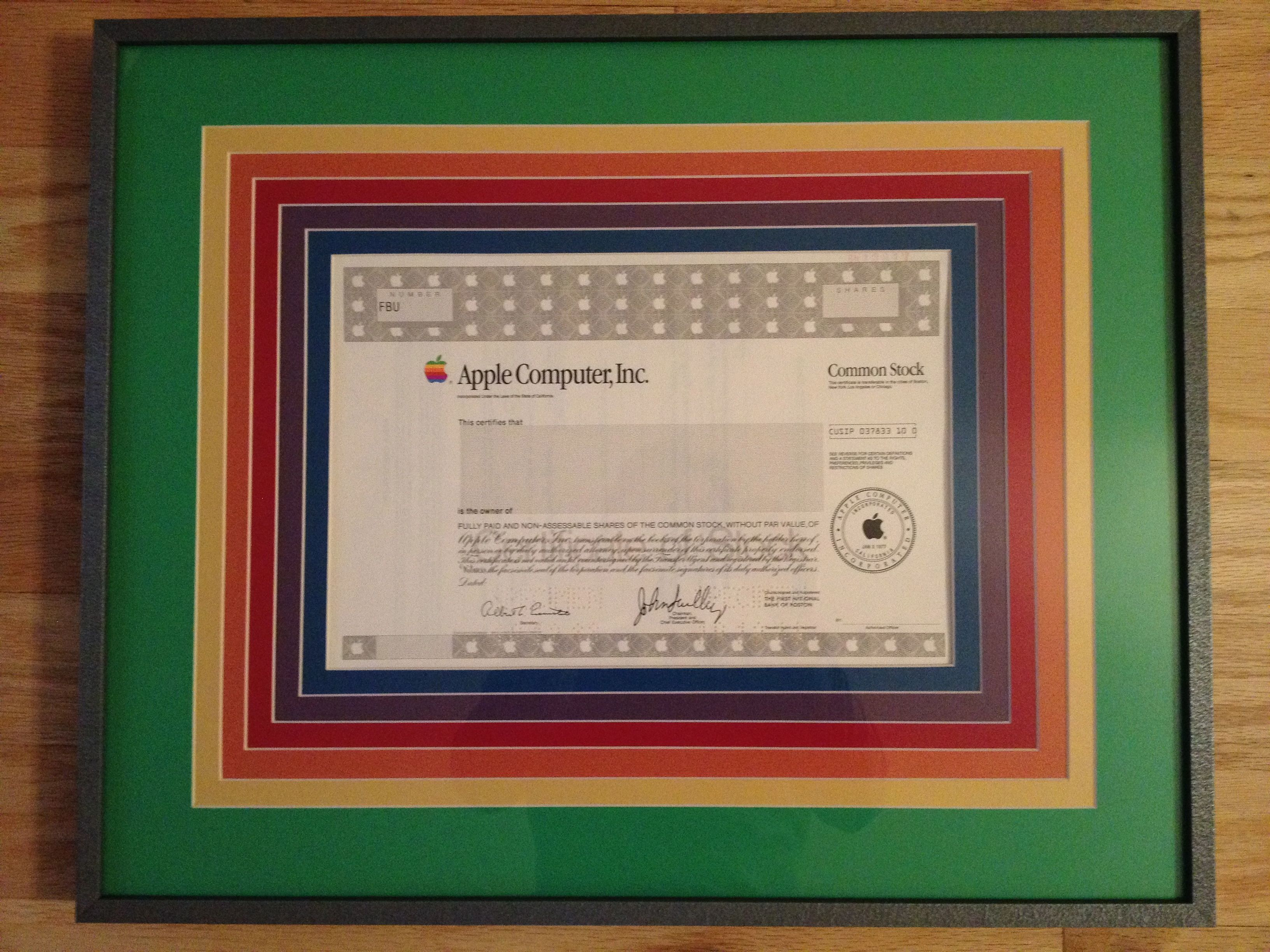 Apple Specimen stock certificate signed by John Sculley