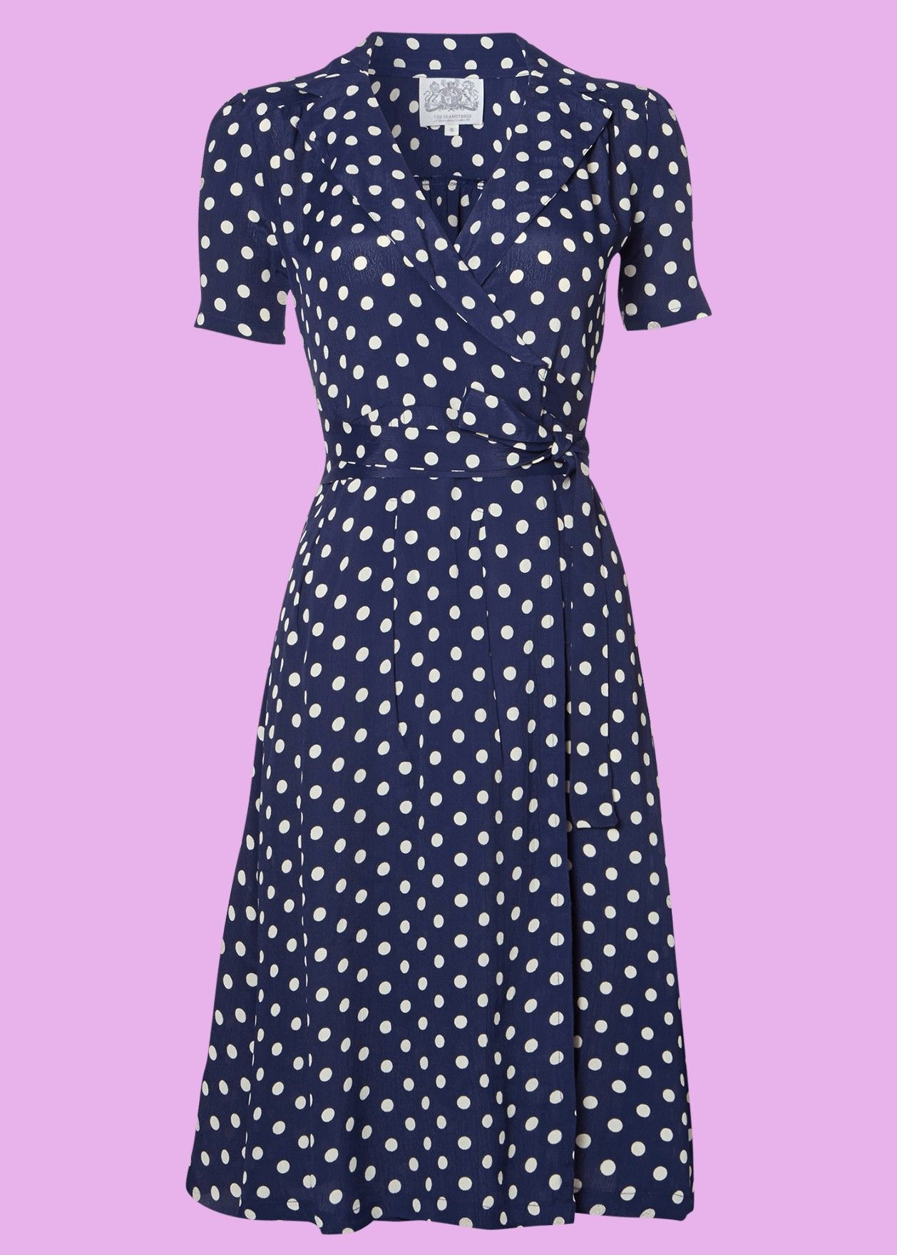 bc8d3e72 Bloomsbury: 1940'er Peggy blå prikket slå-om Kjole   Vintage style ...