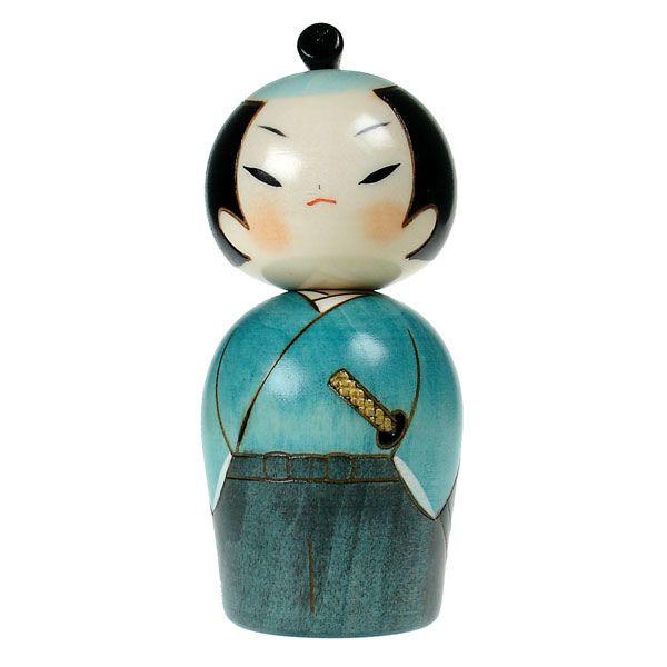 Samurai Kokeshi Doll