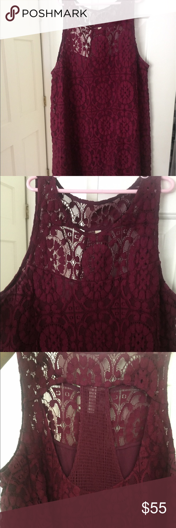 Lace dress purple  Free people burgundypurple dress  Tent dress Purple dress and