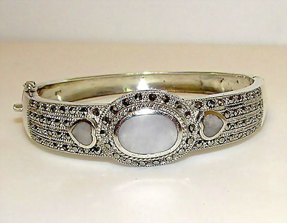 Sterling Silver 925 Marcasites Mother Of Pearl Bangle Bracelet
