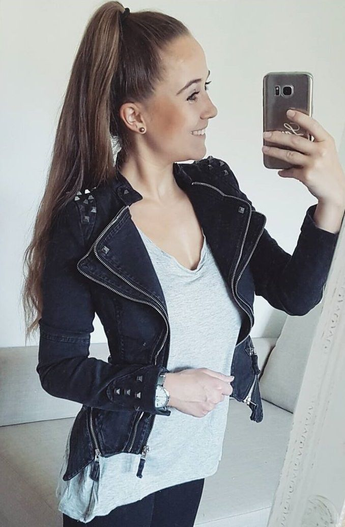 Lauritha is looking fab in her black studded shoulder denim blazer. #LBSDaily