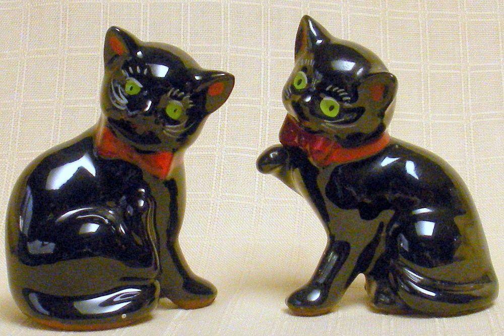 Tiny Vintage Shafford Pair Of Black Cat Figurines Japan