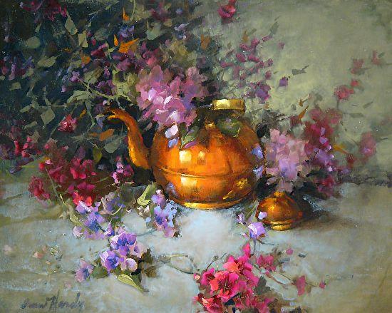 Multi floral Environnement Pot par Ann Hardy Oil ~ 16 x 20Multi floral Environnement Pot Huile sur toile de lin belge à bord 16 x 20 1,200.00 $ USD Vendu