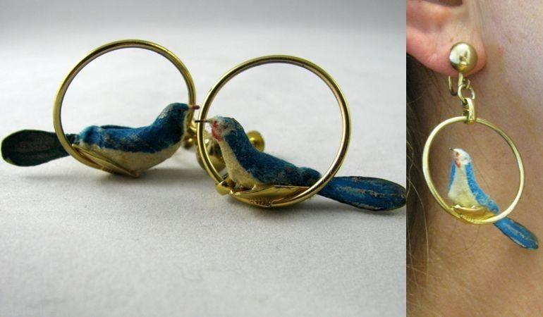 Vtg 50s Gold Plated HOOP Flocked Paper Mache Miniature Bird NOVELTY EARRINGS #Stjohn