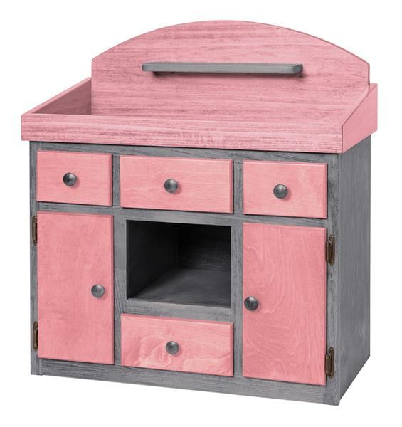 Amish Handmade Doll Changing Table Furniture Dresser American Girl Wood  Hardwood Play Playschool Pink Turquoise Blue