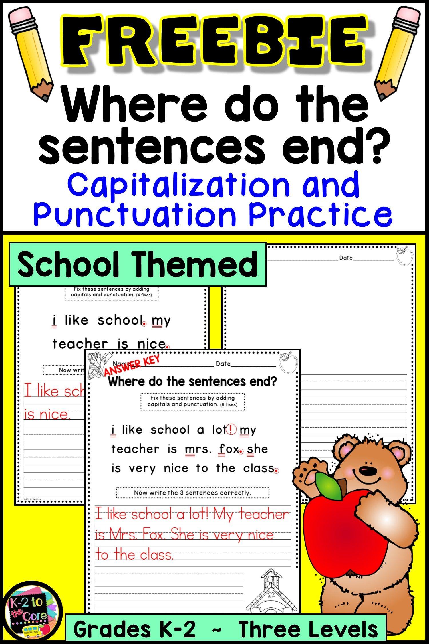Free K 2 Capitalization Punctuation Practice Sentence Writing Activities Second Grade Writing Writing Activities [ 2250 x 1500 Pixel ]