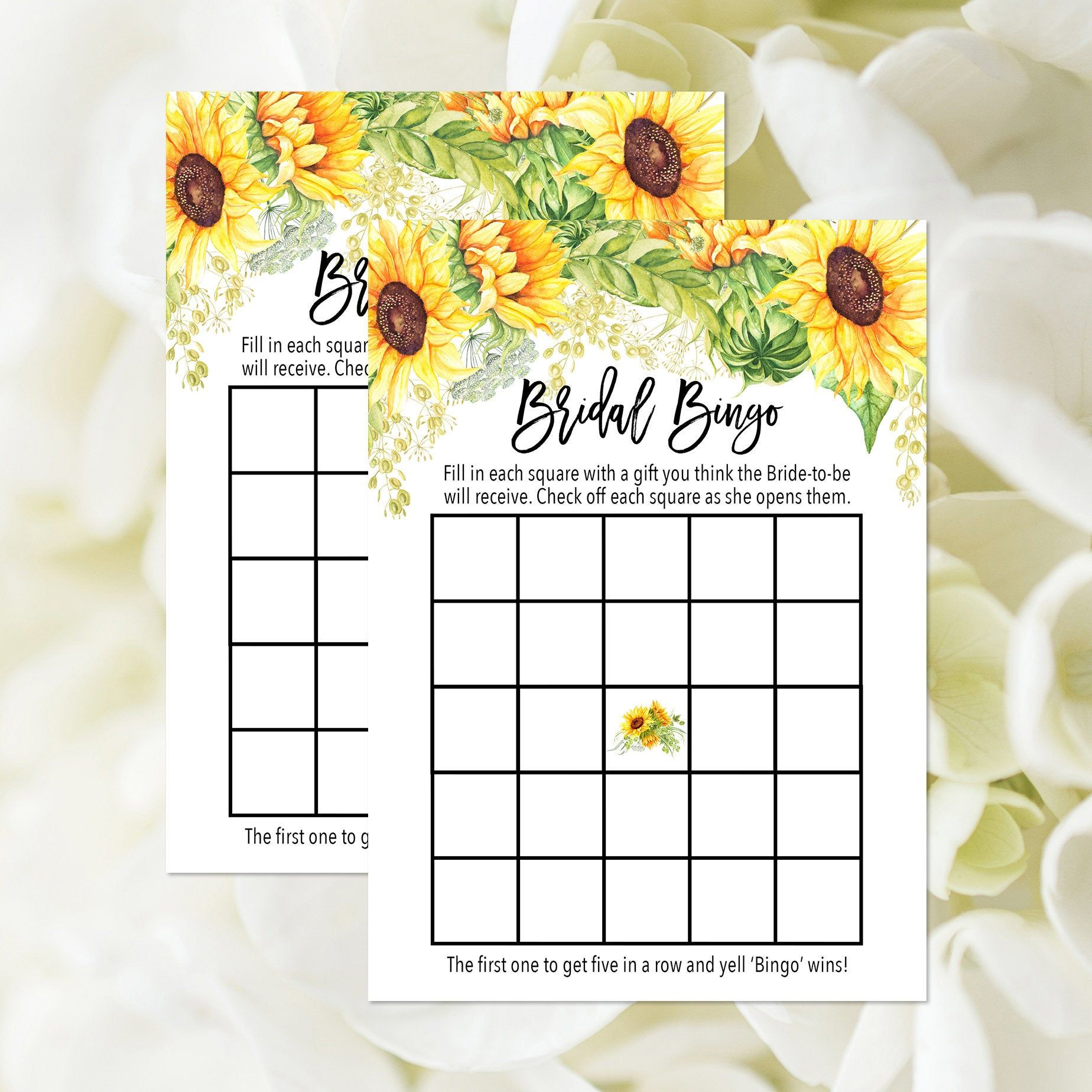 Bridal bingo game printable bingo card sunflower bridal