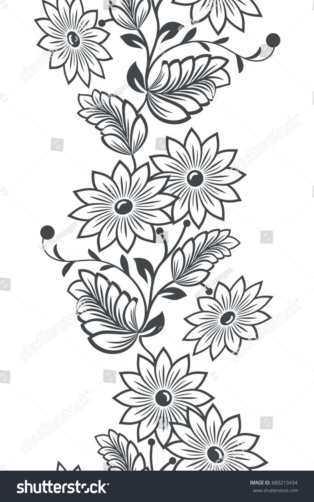 Seamless black and white vertical flower ornament. Vector